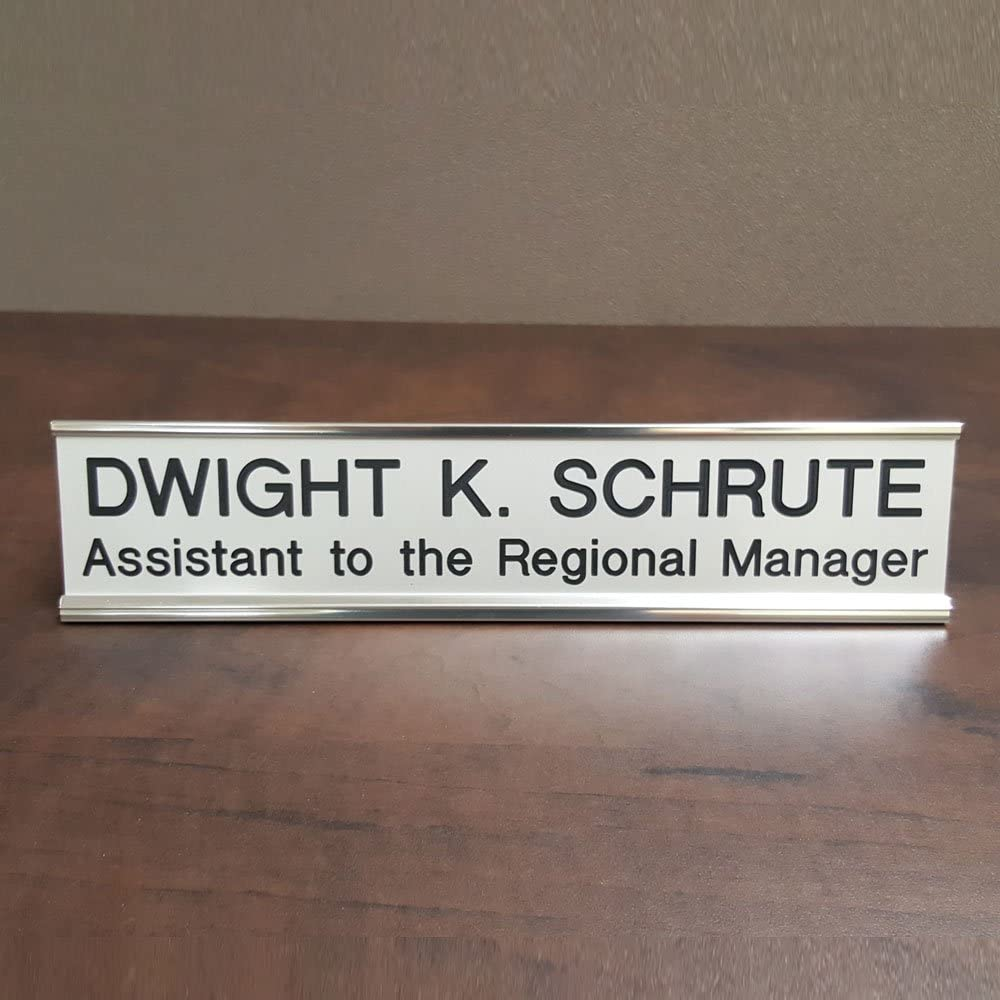the office gifts Dwight nametag